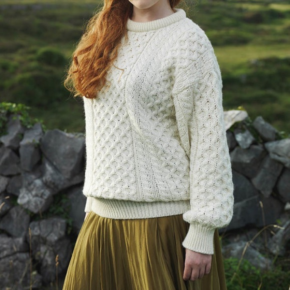 6f1c09b6d81e1b gaeltarra Sweaters - Women s Heavyweight Traditional Aran Wool Sweater